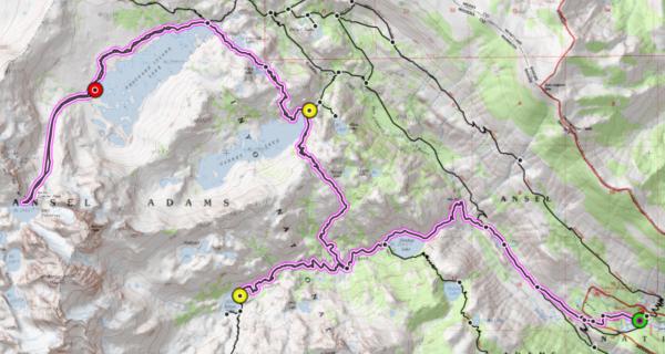 sierra nevada mountains ansel adams wilderness topo map