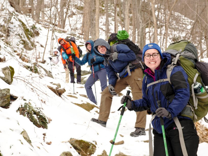 Purdue Outing Club in Shenandoah National Park doing some winter backpacking