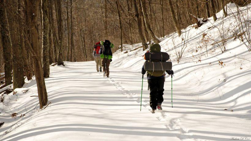 Snow backpacking in Shenandoah National Park