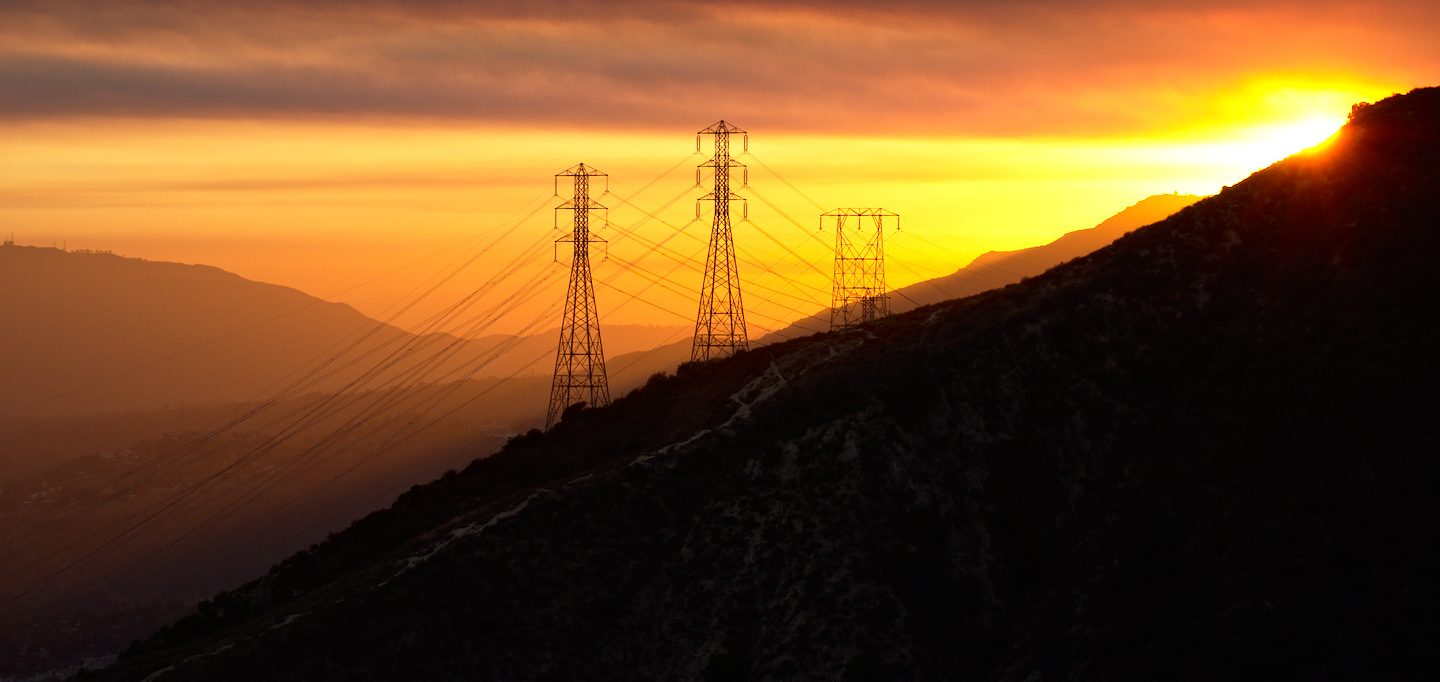 powerline silhouette mountains los angeles
