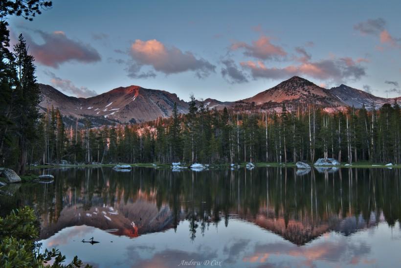 lower merced pass lake sunset reflection