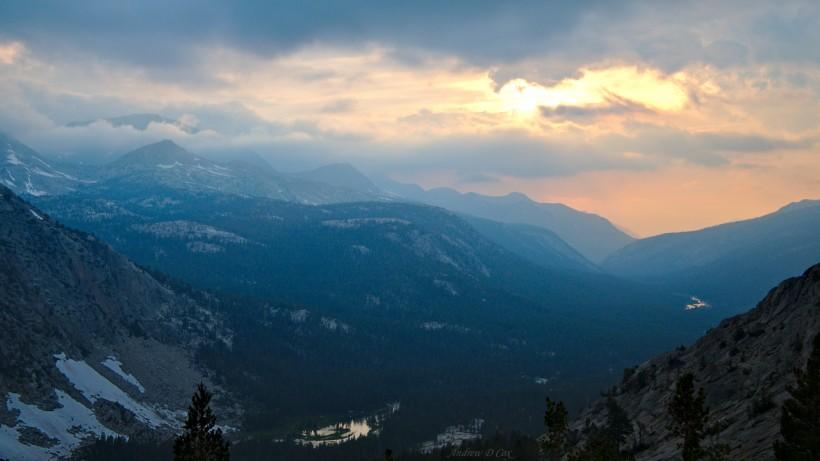 john muir trail evolution valley sunset