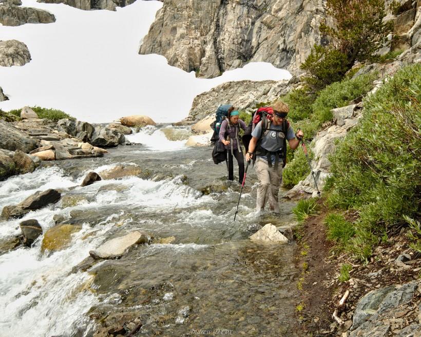 john muir trail river creek crossing snow