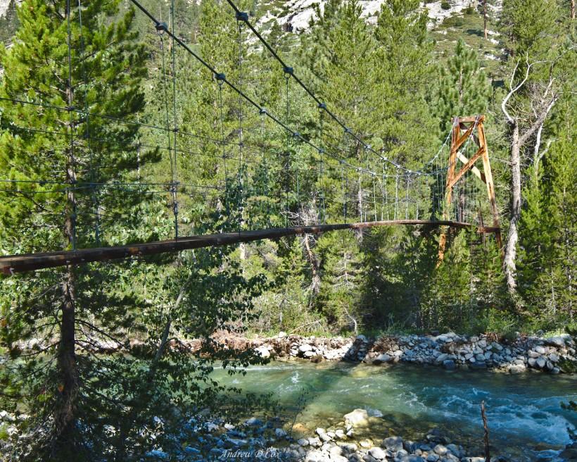 john muir trail woods creek suspension bridge