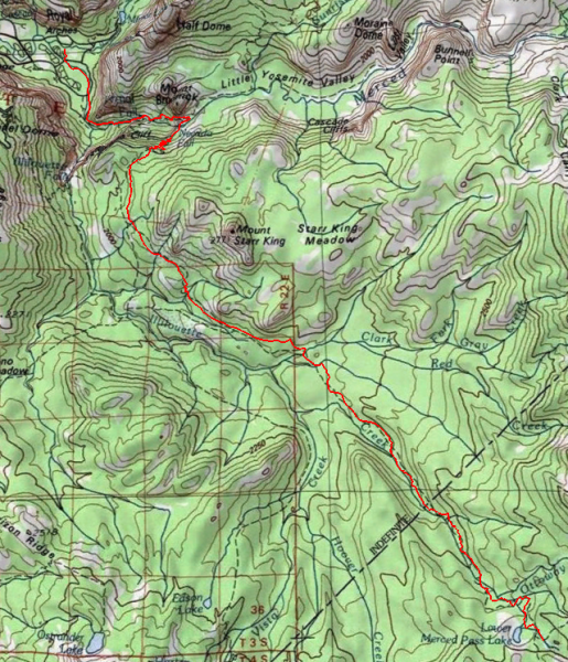 yosemite backpacking topo map