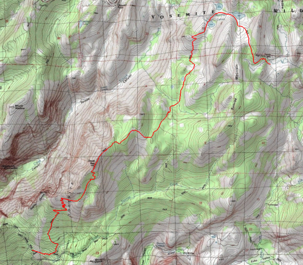 yosemite backpacking topographic map route