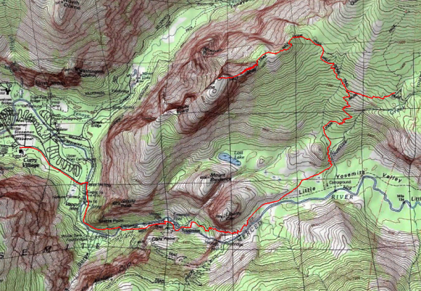 yosemite backpacking route topographic map
