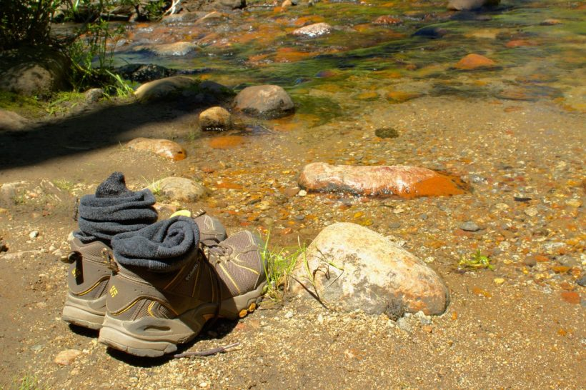 backpacking hiking shoes creek