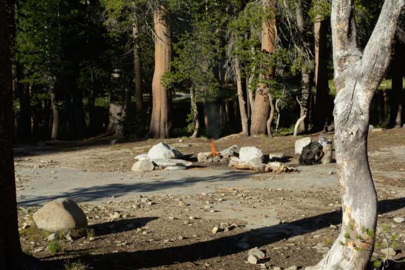 campfire camping yosemite wilderness