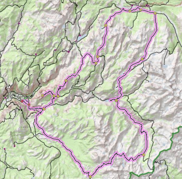 yosemite backpacking loop route map