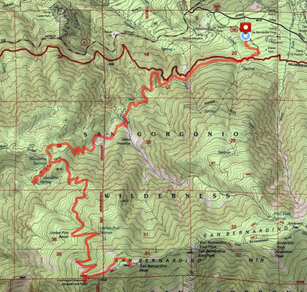 San gorgonio wilderness top map mount san bernardino