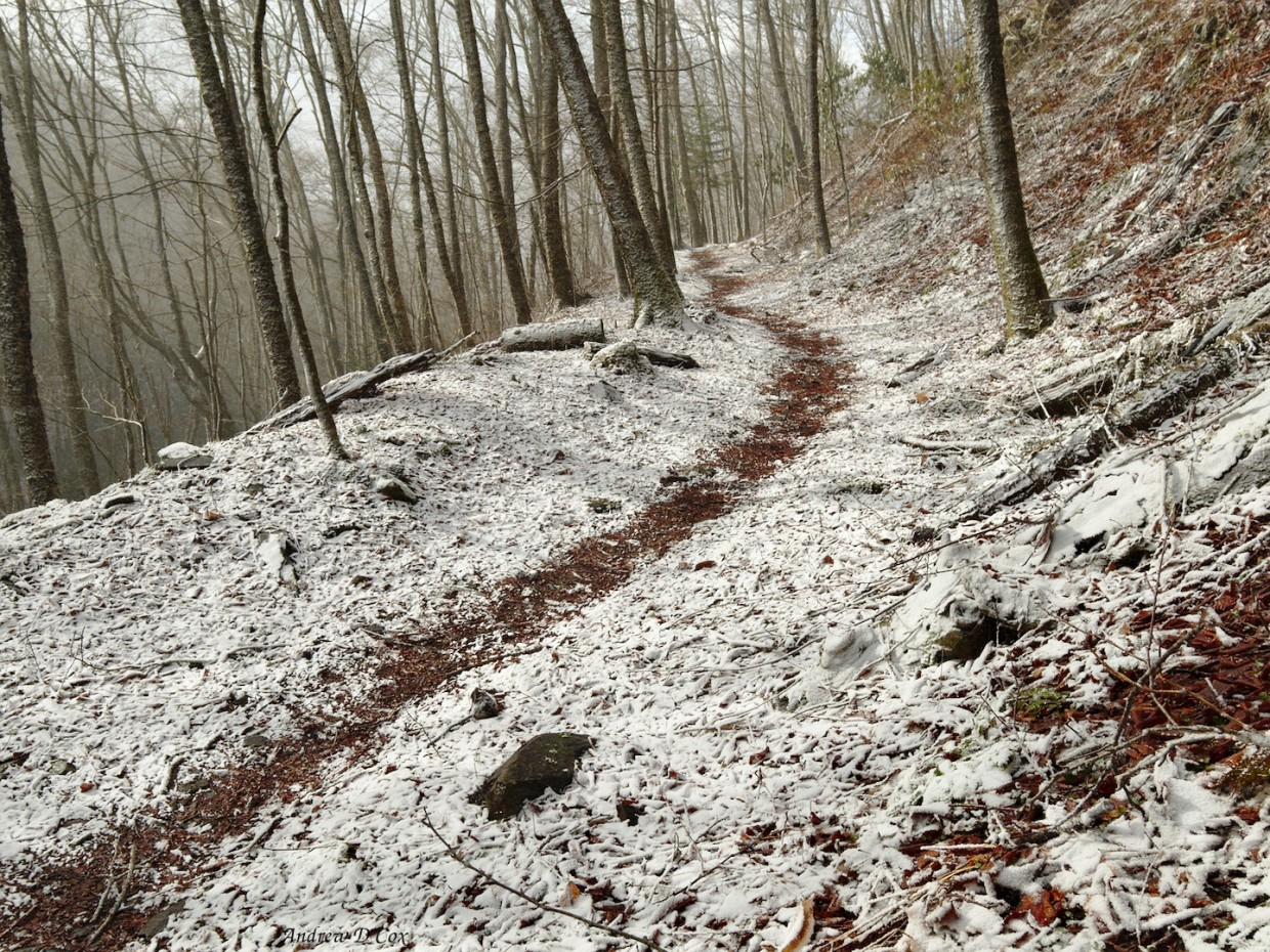 smoky mountains backpacking trail snow
