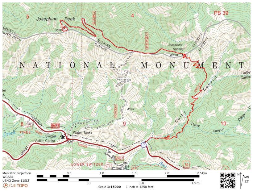 josephine peak map