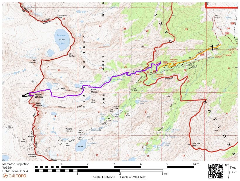 mount whitney mountaineers route map