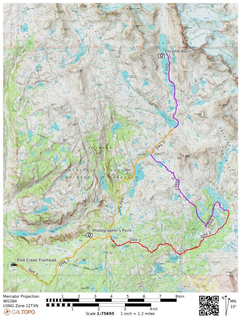 titcomb basin loop map